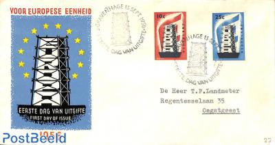 Europa 2v, FDC, typed address, open flap