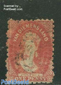 1p, Red, Perf. 10, used