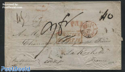 Letter from USA to France by Steamer