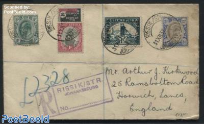Registered letter from Johannesburg (Rissik Str) to England