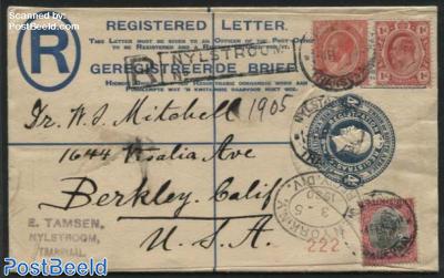 Registered envelope 4d blue, uprated, R Nijlstroom, sent to USA