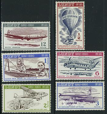 Lundy, Airmail 6v, with date