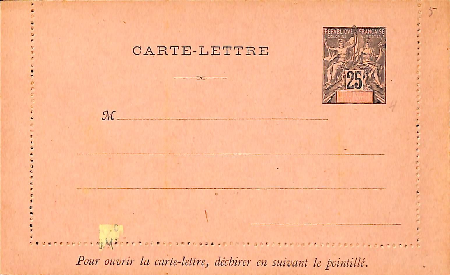 Diego Suarez, Card letter 25c