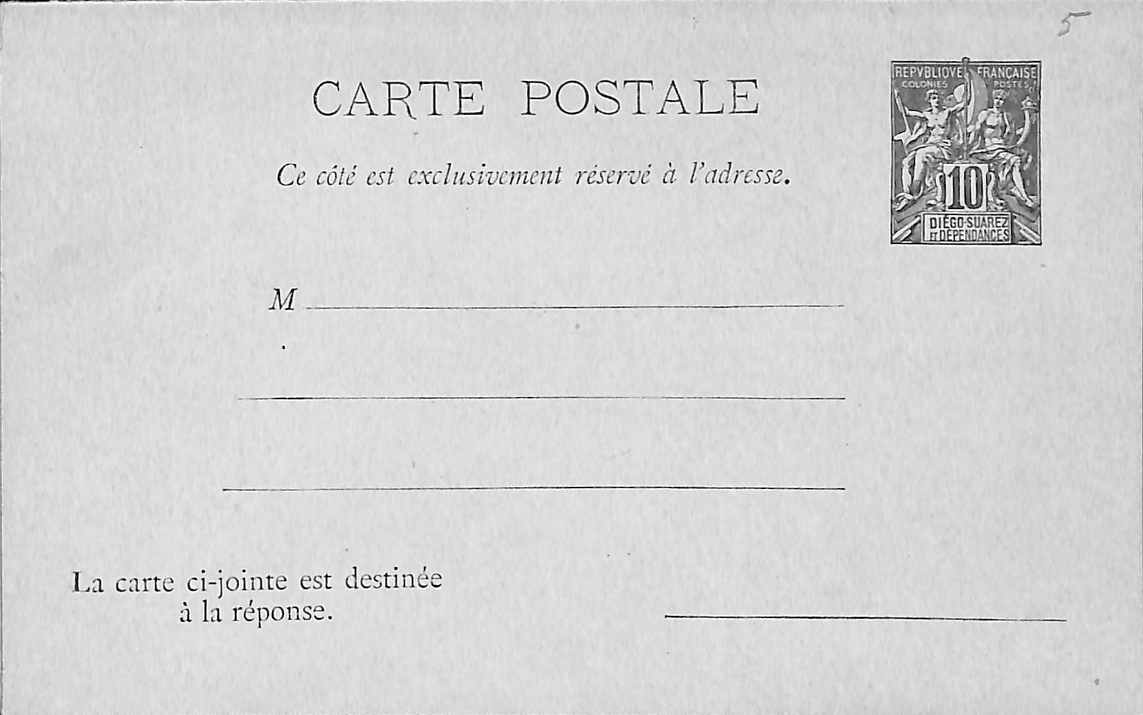 Diego Suarez, Reply Paid Postcard 10/10c