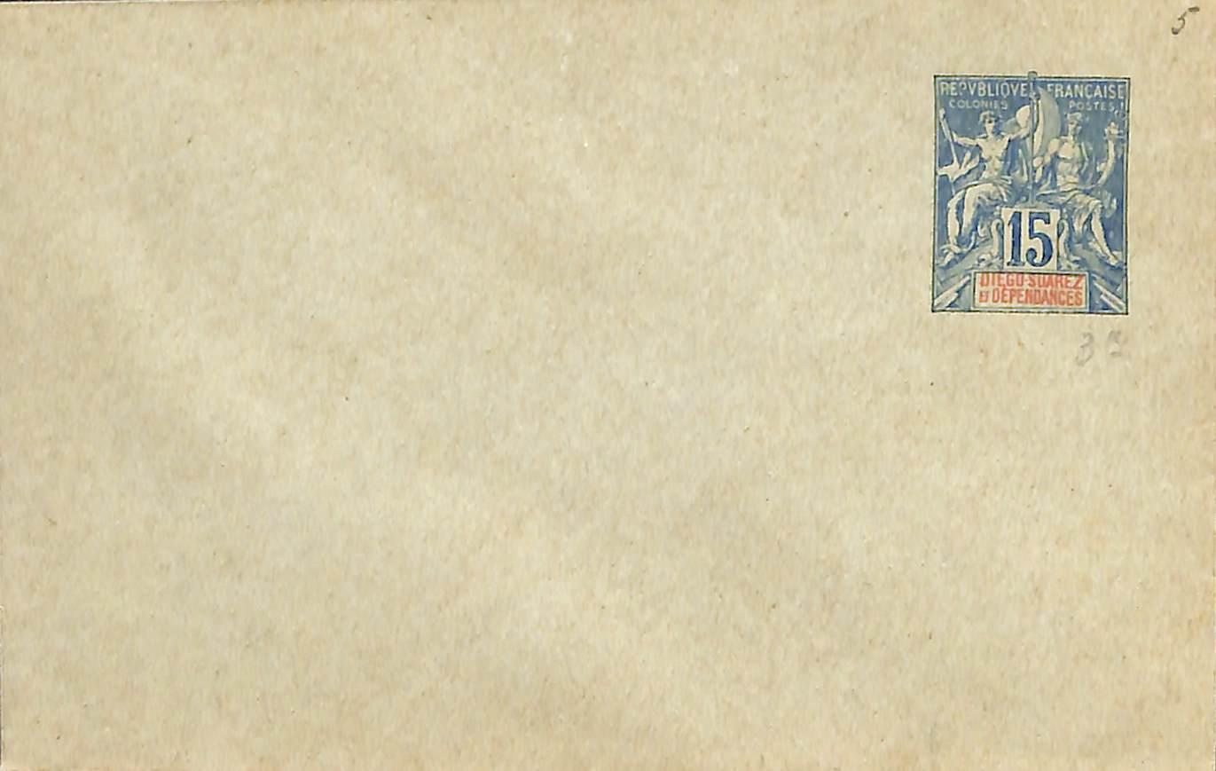 Diego Suarez, Envelope 15c 116x76mm